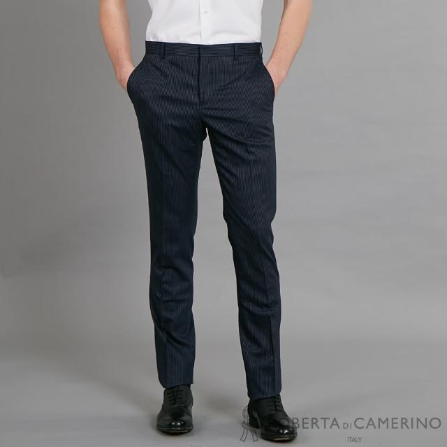 【ROBERTA 諾貝達】清新型男 簡約時尚 平面西裝褲(藍黑)
