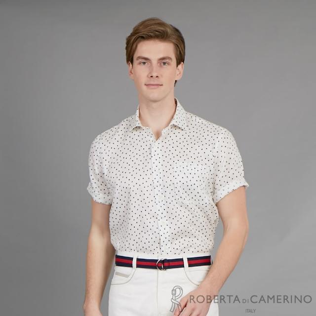 【ROBERTA 諾貝達】進口素材 台灣製 透氣排汗 印花款式短袖襯衫(白色)