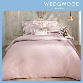 【WEDGWOOD】100%天絲床包兩用被套枕套四件組-簡約煙薰紫(加大)