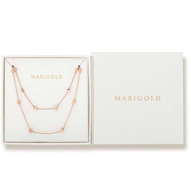 【MARIGOLD 美爾朵】飾品1+1禮盒(西德鋼方塊手鍊-玫瑰金+項鍊-玫瑰金)