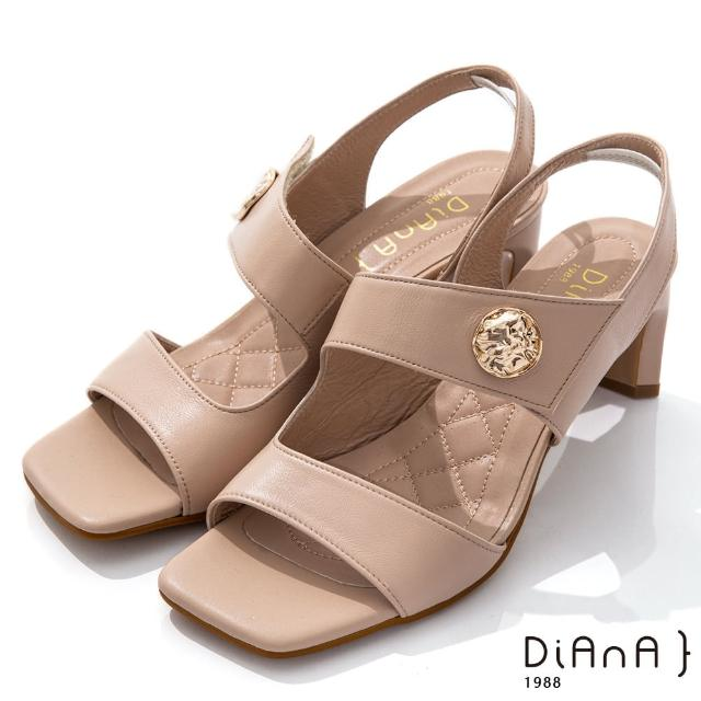 【DIANA】6.7cm質感牛皮方頭寬板金屬釦魔鬼氈露趾高跟涼鞋(粉)