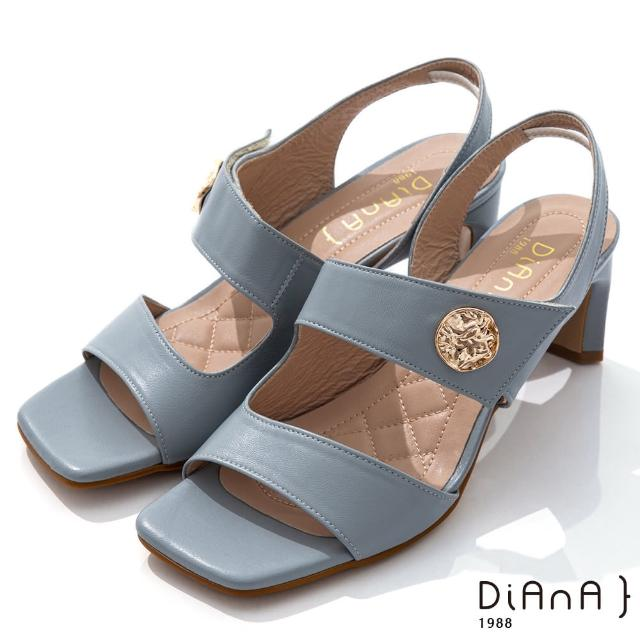 【DIANA】6.7cm質感牛皮方頭寬板金屬釦魔鬼氈露趾高跟涼鞋(灰藍)