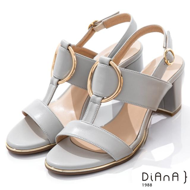 【DIANA】6.5cm羊紋金屬圓環飾釦T字高跟涼鞋-夏日風情(淺灰)