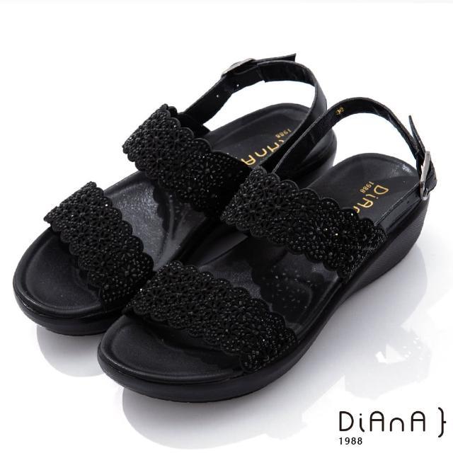 【DIANA】4.5cm點點水鑽花朵邊寬板一字露趾涼鞋-浪漫戀曲(黑)