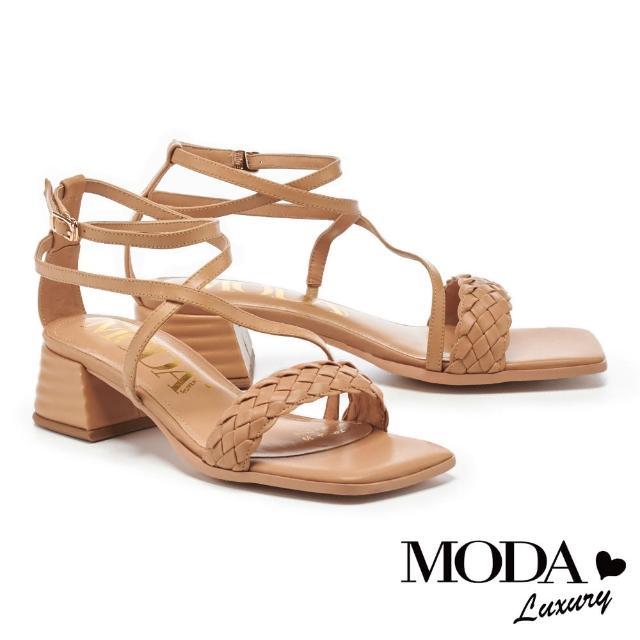 【MODA Luxury】迷人氣質一字編織交叉繫帶方頭粗跟涼鞋(咖)