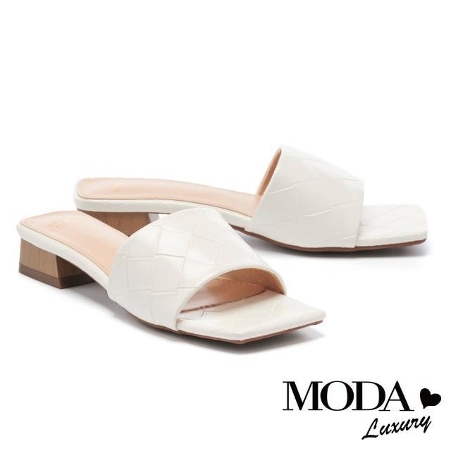【MODA Luxury】氣質風尚編織質感一字方頭低跟拖鞋(白)