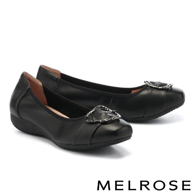 【MELROSE】都會典雅金屬雙圓釦全真皮楔型低跟鞋(黑)