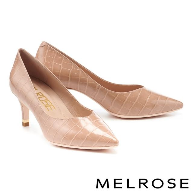 【MELROSE】經典時髦鱷魚壓紋質感皮革尖頭高跟鞋(米)