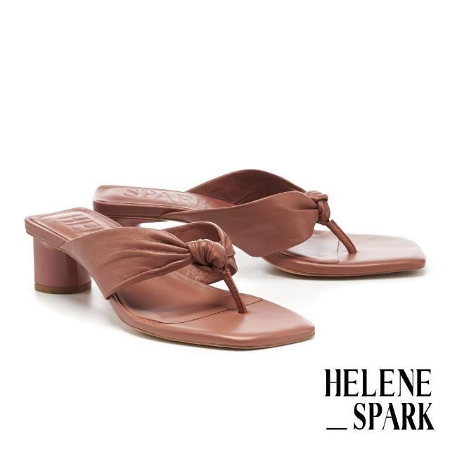 【HELENE SPARK】時髦純色扭結羊皮人字方頭高跟拖鞋(棕)