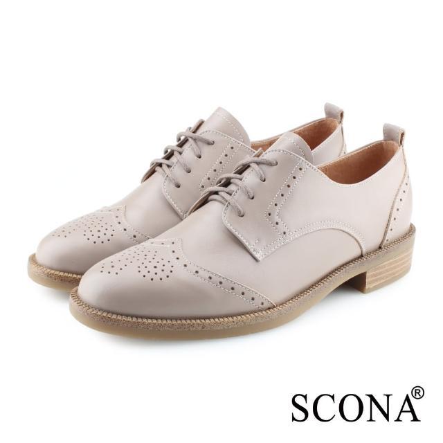 【SCONA 蘇格南】全真皮 英式雕花綁帶牛津鞋(可可色 22616-4)