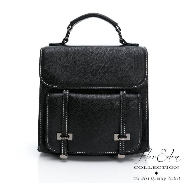 【D.F.Flor Eden】日系學院風真皮手提肩背後背包-黑色