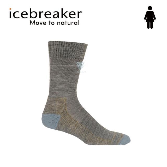 【Icebreaker】女 中筒薄毛圈健行襪-灰/藍 IB105108(美國製造/中筒/健行襪/美麗諾)