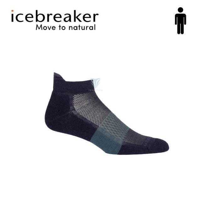【Icebreaker】男 薄毛圈多功能運動踝襪-灰黑/藍 IB105129(美國製造/短筒/慢跑襪/美麗諾)