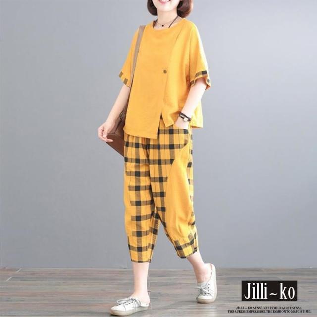 【JILLI-KO】兩件套棉麻格子拼接套裝-F(黑/黃)