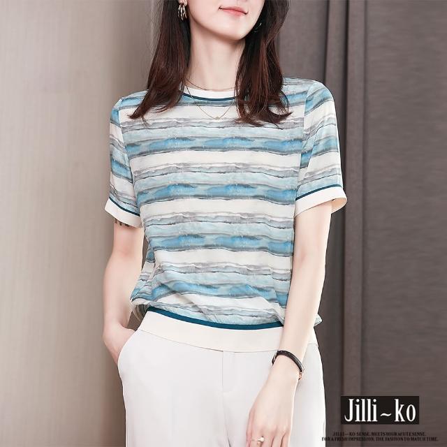【JILLI-KO】渲彩條紋印花絲質小衫-M/L(藍)