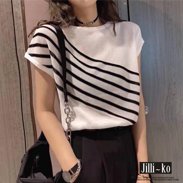 【JILLI-KO】薄款條紋連袖針織衫-F(黑/白)