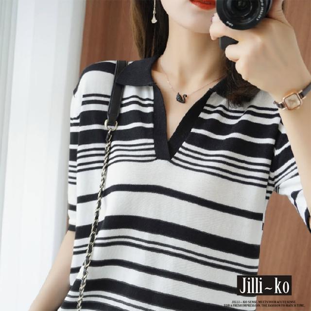 【JILLI-KO】薄款小V領條紋針織衫-F(圖片色)