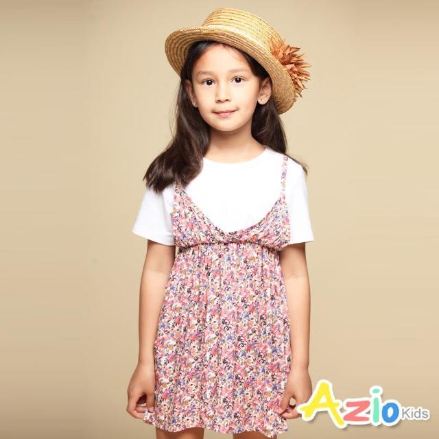 【Azio Kids 美國派】女童 洋裝 滿版彩色小花印花假兩件吊帶短袖洋裝(粉)