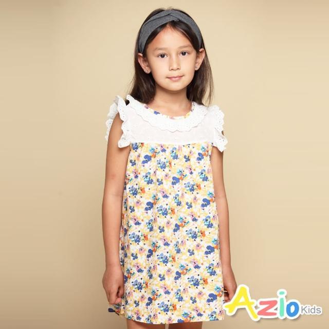 【Azio Kids 美國派】女童 洋裝 領口袖口蕾絲造型滿版彩色花朵印花接片短袖洋裝(小花)