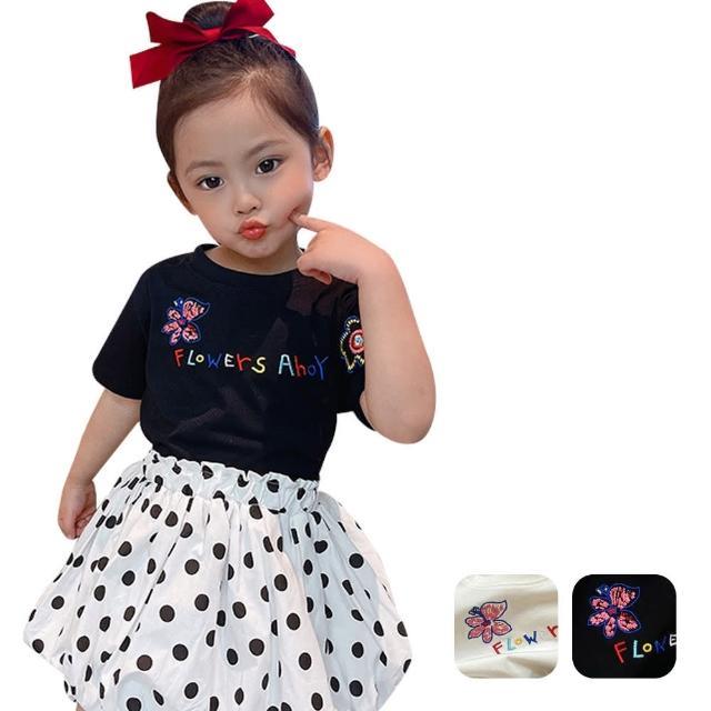 【Baby 童衣】女童短袖上衣 圓領刺繡寬鬆上衣 88701(共2色)