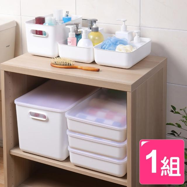 【真心良品】日系純白無雙附蓋層櫃收納盒-6入(MIT台灣製 置物盒 貼身衣物/樂高玩具/化妝/廚房/浴室)