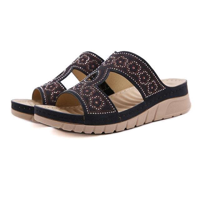 【Taroko】波希米亞風鏤空水鑽厚底休閒涼拖鞋(3色可選)