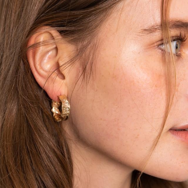 【CReAM】Damaris 達瑪麗絲S925純銀不規則圓圈耳環(金色)