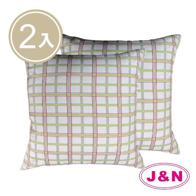 【J&N】多倫多格子抱枕45*45-綠色(2入/1組)