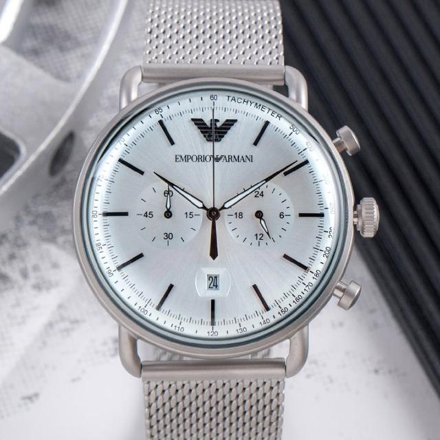 【EMPORIO ARMANI】亞曼尼 公司貨 Aviator 雅痞型男雙眼計時不鏽鋼米蘭腕錶/銀x白面(AR11288)
