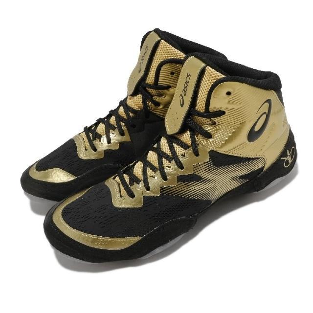 【asics 亞瑟士】角力鞋 JB Elite IV 專業運動 男鞋 亞瑟士 Jordan Burroughs 金 黑(1081A016200)