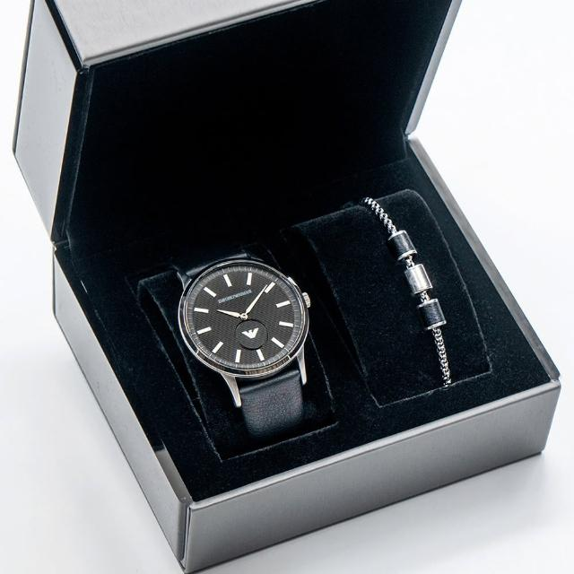 【EMPORIO ARMANI】亞曼尼 公司貨 Renato 商務經典皮革腕錶禮盒組/黑x銀框 附銀色手鍊 二件組(AR80039)