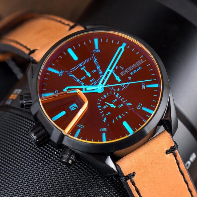 【DIESEL】公司貨 MS9 雅痞潮流幻彩計時皮革腕錶/淺棕x黑框(DZ4471)
