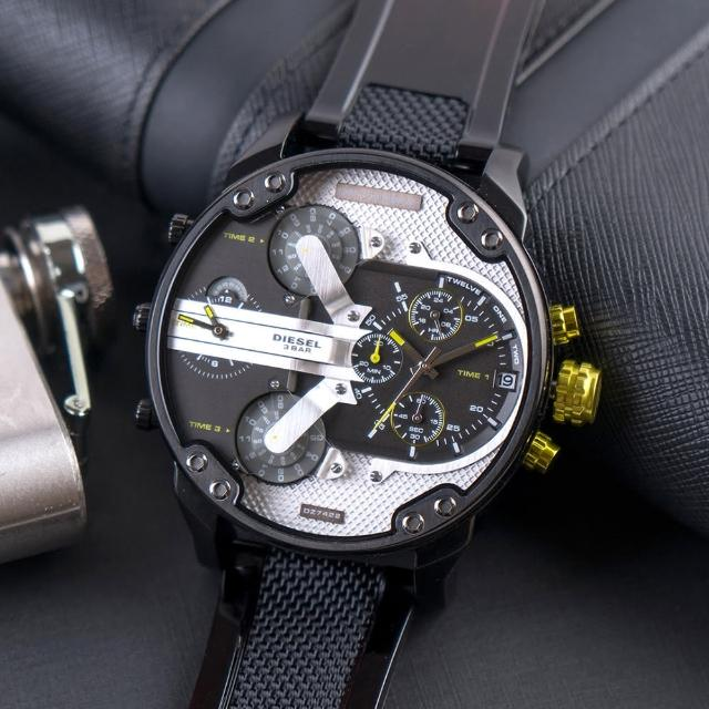 【DIESEL】公司貨 Mr. Daddy 2.0 美式潮流多時區尼龍矽膠腕錶/漸層黑x銀面(DZ7422)