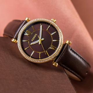 【FOSSIL】公司貨 Carlie 奢華典雅時尚皮革腕錶/深棕x香檳金框 女錶(ES4973)