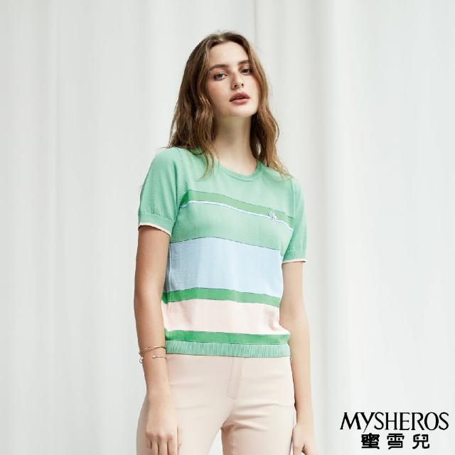 【MYSHEROS 蜜雪兒】馬卡龍條紋星別針織上衣(綠)