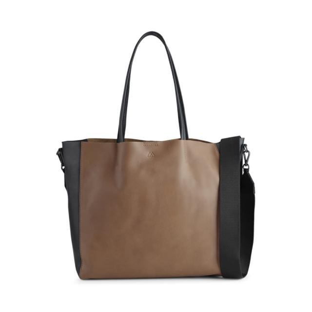 【MARKBERG】Reese 丹麥手工牛皮個性寬帶托特包 肩揹包 手提包(焦糖奶茶拼接黑)