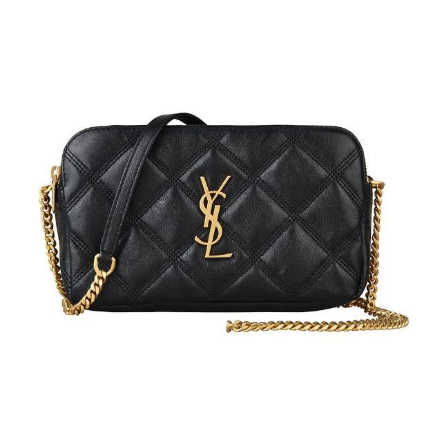 【YSL】YSL BECKY金字LOGO菱格紋設計小羊皮雙拉鍊設計鍊帶斜背包(黑)