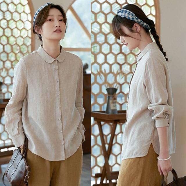 【設計所在】法國雨露亞麻手工風琴褶襯衫棉麻上衣 S201140(M-L可選)
