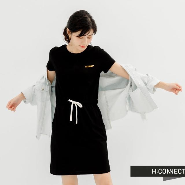 H:CONNECT【H:CONNECT】韓國品牌 女裝 -簡約logo後潑漆圖印綁帶洋裝(黑色)