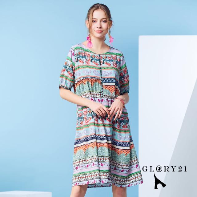【GLORY21】新品-圓領寬版法系變形蟲幾何印花洋裝(彩色)