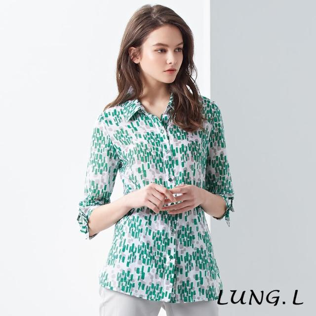 【LUNG.L 林佳樺】LJ09A#優雅綠灰格型絲棉七分袖襯衫