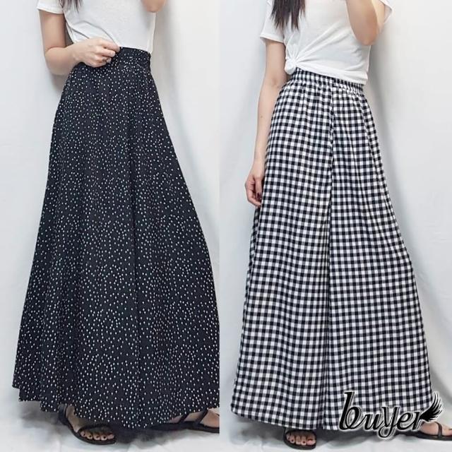 【buyer 白鵝】超顯瘦 垂墜感舒適寬褲裙(黑白格子/黑白點點)