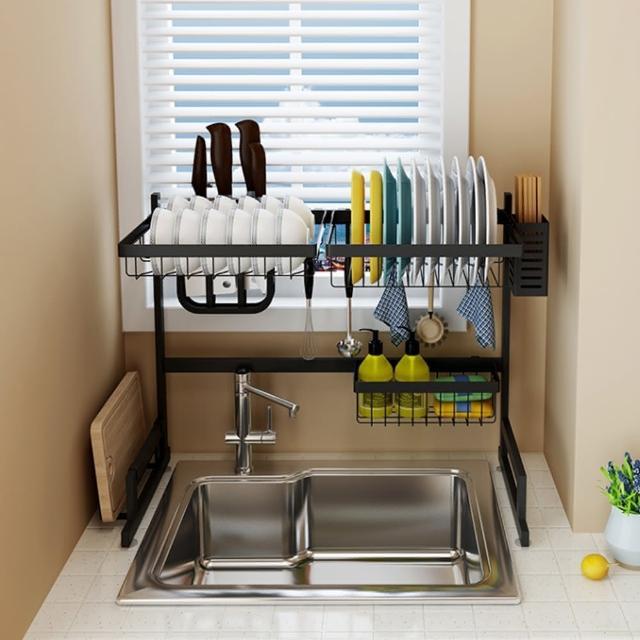 【居家生活Easy Buy】簡約風 201不銹鋼碗盤瀝水收納置物架-65CM(碗盤收納架 水槽瀝水架)