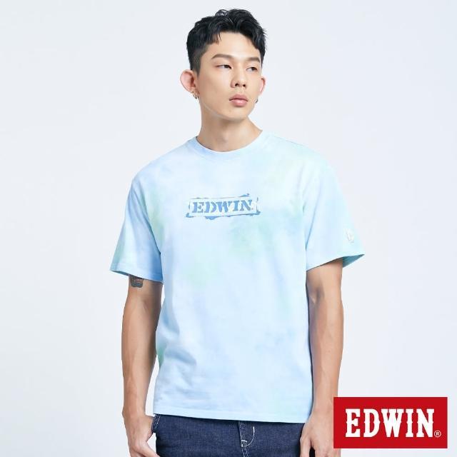 【EDWIN】暈染噴漆LOGO短袖T恤-男款(水藍色)
