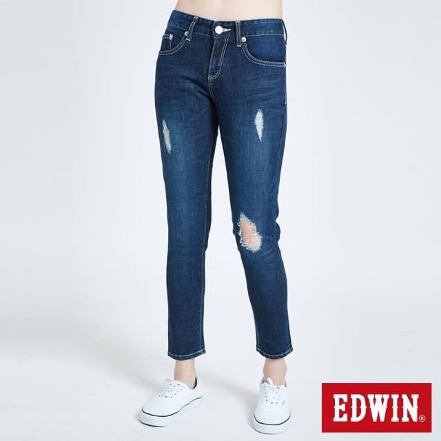 【EDWIN】MISS 503刷破AB牛仔褲-女款(酵洗藍)