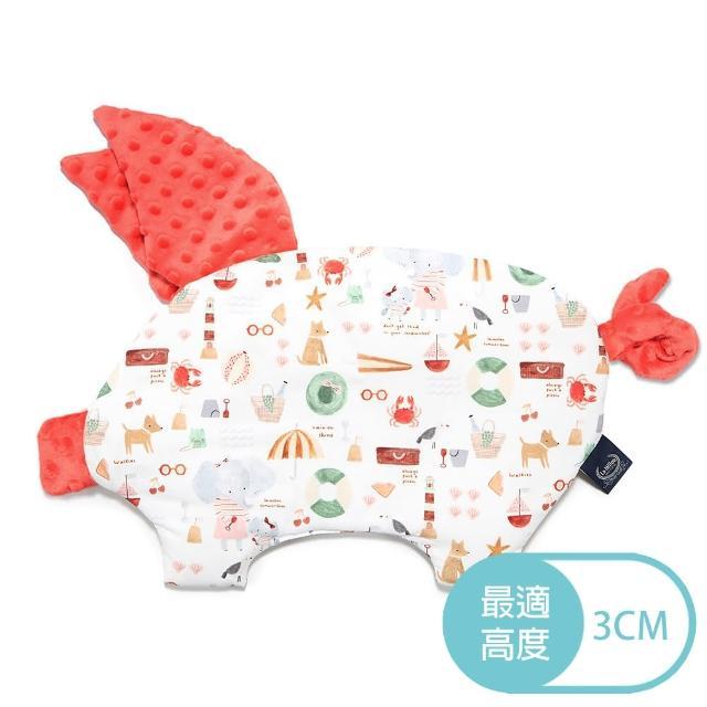 【La Millou】豆豆小豬枕_嬰兒枕(海灘小象-紅-粉橘小太陽)
