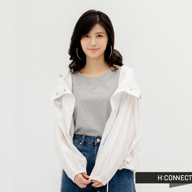 【H:CONNECT】韓國品牌 女裝 -純色後壓褶開衩T-Shirt(灰色)