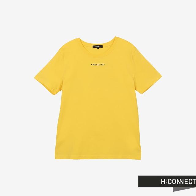 【H:CONNECT】韓國品牌 男裝 -圓領率性字樣T-Shirt(黃色)