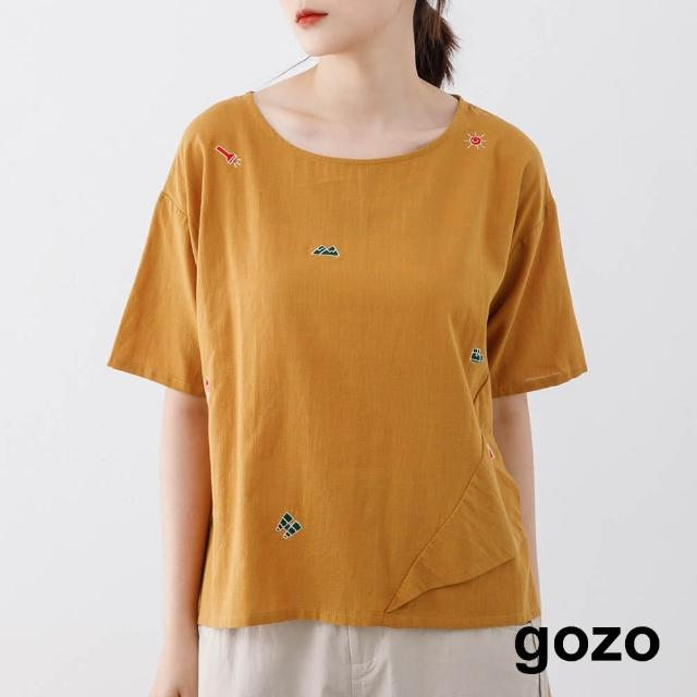 【gozo】滿版露營刺繡上衣(兩色)