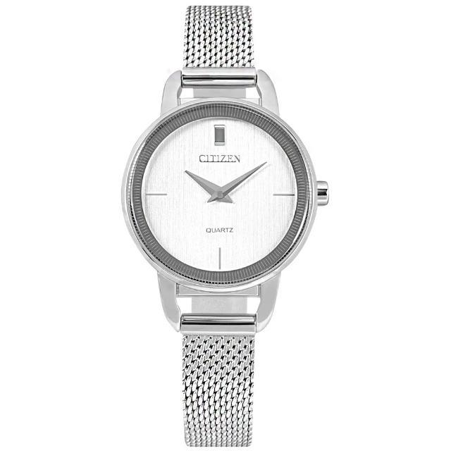 【CITIZEN 星辰】簡約時尚 小巧典雅 日本機芯 米蘭編織不鏽鋼手錶 銀色 26mm(EZ7000-50A)